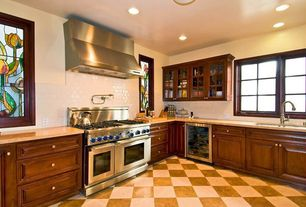 Eclectic Kitchen with Stained glass window, full backsplash, Subway Tile, L-shaped, Wine refrigerator, Standard height, Flush
