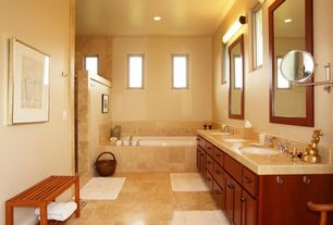 Modern Full Bathroom with Double sink, drop in bathtub, Framed Partial Panel, Simple granite counters, stone tile floors