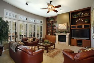 Traditional Living Room with specialty window, Carpet, can lights, Standard height, insert fireplace, Transom window