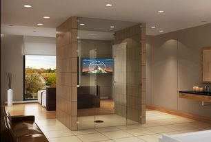 Contemporary Master Bathroom with frameless showerdoor, Standard height, can lights, Shower, Master bathroom, Undermount sink