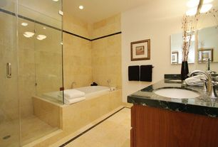 Modern Full Bathroom with frameless showerdoor, Complex granite counters, Flat panel cabinets, Undermount sink