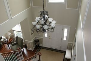 Traditional Entryway with Hardwood floors, six panel door, Paint 2, High ceiling, Wainscotting, Paint, Casement, Carpet