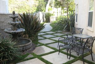 Mediterranean Patio with Fountain, Pathway, Gray Square Patio Stone (Common: 24-in x 24-in; Actual: 23.6-in x 23.6-in), Fence
