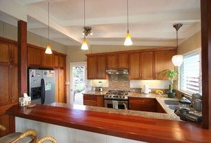 Traditional Kitchen with Wood counters, Pendant light, Flush, Simple granite counters, U-shaped, flush light, Undermount sink