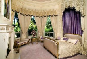 Traditional Guest Bedroom with Carpet, Crown molding, Fireplace, picture window, Cathedral ceiling, insert fireplace