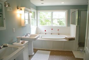 Traditional Master Bathroom with Casement, Standard height, Pedestal sink, Wall sconce, flat door, Shower, can lights