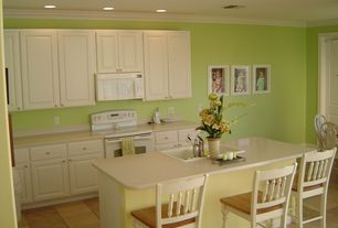 Traditional Kitchen with Framed Partial Panel, L-shaped, Kitchen island, partial backsplash, Breakfast bar, Corian counters