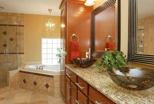 Traditional Full Bathroom with Bathtub, wall-mounted above mirror bathroom light, Simple granite counters, Vessel sink