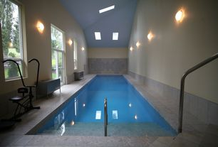 Contemporary Swimming Pool with exterior tile floors, Indoor pool, Skylight, sliding glass door, picture window, Casement