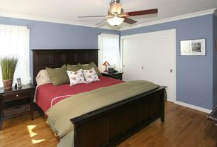 Modern Guest Bedroom with Crown molding, Furniture of America Chipley Panel Bed, Cotton Loft Comforter - King, Ceiling fan