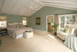 Cottage Guest Bedroom with Exposed beam, Carpet, Cathedral ceiling, double-hung window