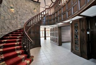 Traditional Staircase with curved staircase, Carpet, Cathedral ceiling, French doors, can lights