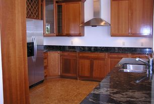 Craftsman Kitchen with Complex Marble, U-shaped, Complex marble counters, Flat panel cabinets, Flush