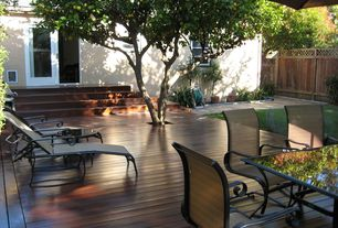 Modern Deck with Fence, French doors