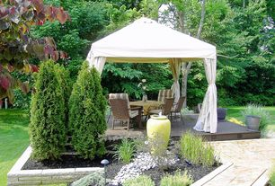 Contemporary Landscape/Yard with Pathway, Undercover 10' x10' Commercial Grade Instant Canopy, Raised beds, Gazebo