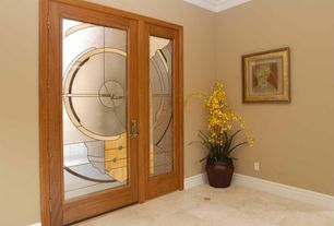 Traditional Entryway with French doors, Glass panel door, Crown molding