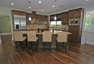 Traditional Kitchen with Kitchen island, Daltile briton bone 6 in. x 6 in. ceramic wall tile, Flat panel cabinets, L-shaped