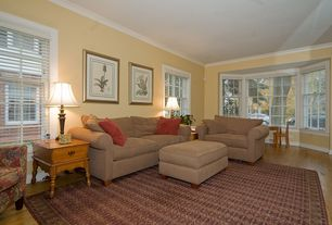 Country Living Room with Pottery Barn PB Comfort Roll Arm Upholstered Grand Sofa, Carpet, Laminate floors