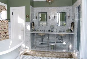 "Traditional Full Bathroom with Signature Hardware 72"" Art Deco Double Undermount Console Sink, Powder room, Crown molding"