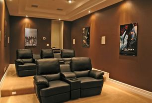 Modern Home Theater with Theatre seating, Brooklyn two seat black top grain leather recliner home theater seating set, Carpet
