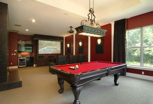 Traditional Game Room with Carpet, Wall sconce, Pendant light