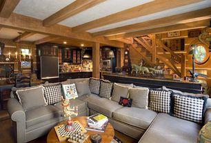 Eclectic Great Room with Laminate floors, Columns, Framburg roanoke 5 light dining chandelier, Exposed beam, Chandelier