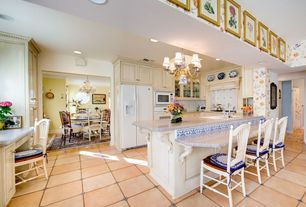 Traditional Kitchen with Chandelier, U-shaped, Raised panel, interior wallpaper, Vinyl floors, Simple granite counters