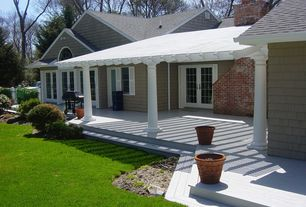 Traditional Porch with Paint 2, Wrap around porch, Trellis, Brick fireplace and chimney, specialty window, Paint 1, Fence