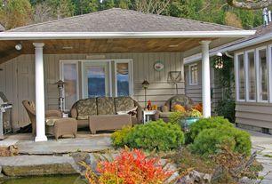 Patio with Casement, six panel door, Outdoor kitchen, picture window, French doors, exterior stone floors