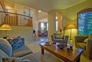 Craftsman Living Room with specialty window, Wainscotting, Casement, Standard height, six panel door, Paint, Pendant light
