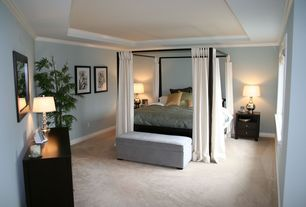 Modern Guest Bedroom with Carpet, Crown molding