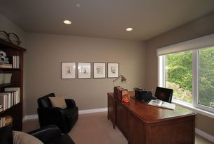 Traditional Home Office with Sunpan Presidente Armchair, Standard height, specialty window, Paint, Carpet, can lights