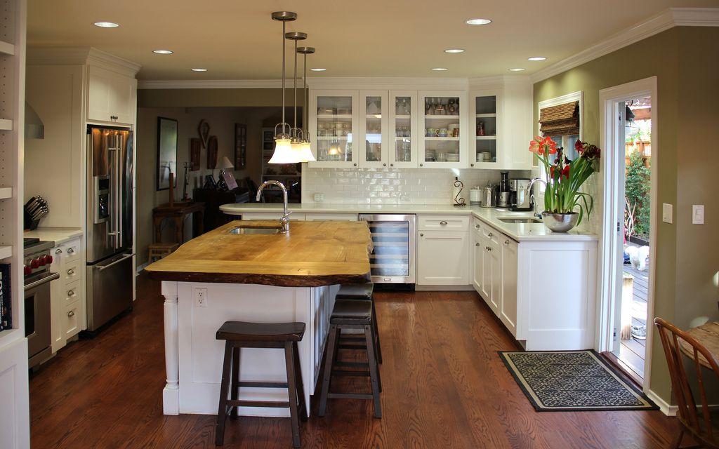 Traditional Kitchen with Multiple Refrigerators, Custom hood, gas range, Subway Tile, Breakfast bar, Undermount sink, Paint 1