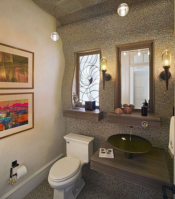 Eclectic Powder Room with Transom window, Floating wood countertop, Paint, Stained glass window, Wood counters, Pendant light