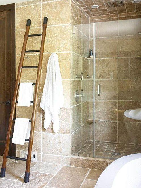 Modern Master Bathroom with Etsy - wooden ladder, towel rack, travertine tile floors, terracotta tile floors