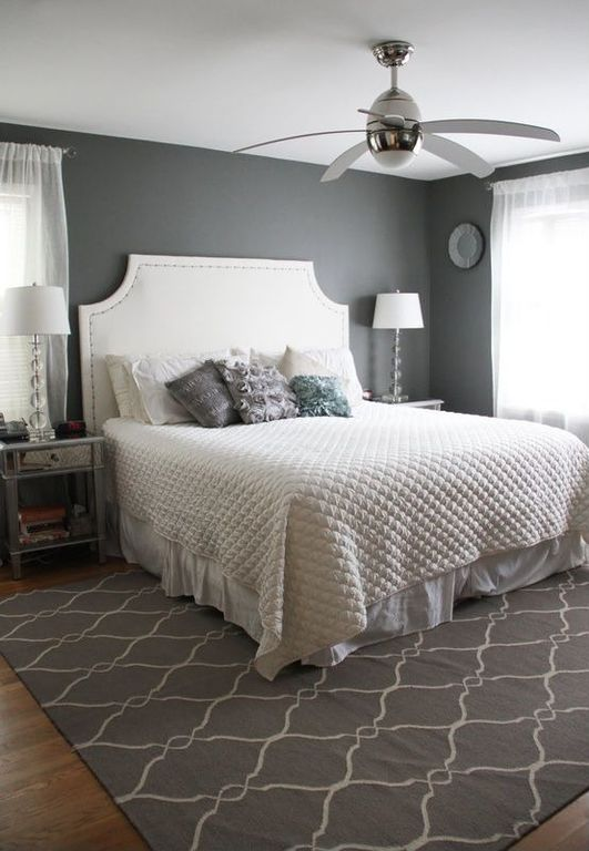 Art Deco Guest Bedroom with Paint, Studio - crystal ball table lamp, Sheer curtains, Cococozy - fence rug, charcoal (similar)