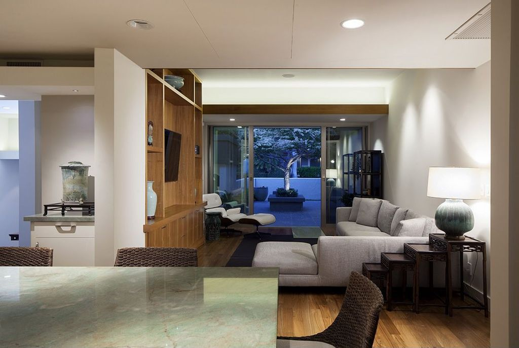 Contemporary Living Room with picture window, Standard height, Hardwood floors, can lights, sliding glass door