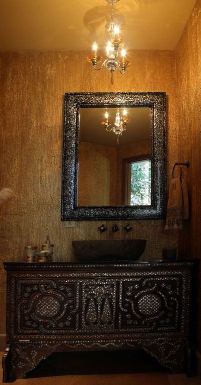 Eclectic Powder Room with Crystorama Winslow 3 Light Mini Chandelier, wallpaper, Paint