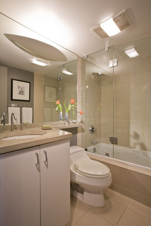 Modern Full Bathroom with partial backsplash, stone tile floors, Undermount sink, flush light, European Cabinets, Full Bath
