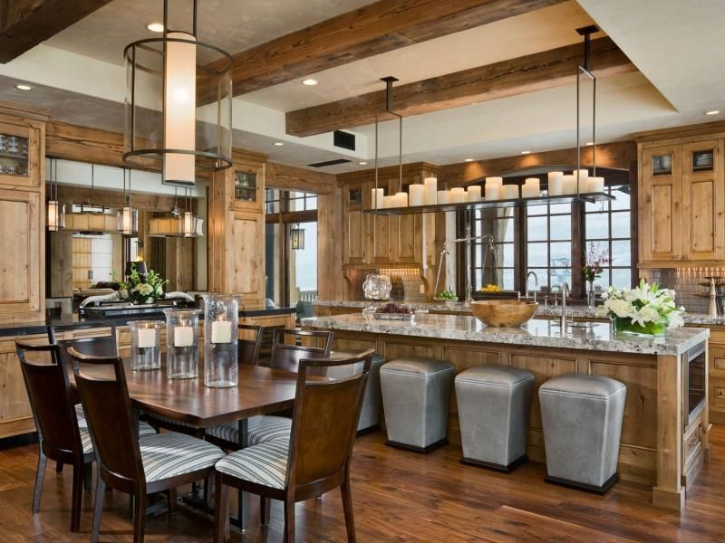 Kitchen with Trey ceiling, Exposed heavy timber beam, Restoration hardware - quentin pendant, Paint, Rustic luxury