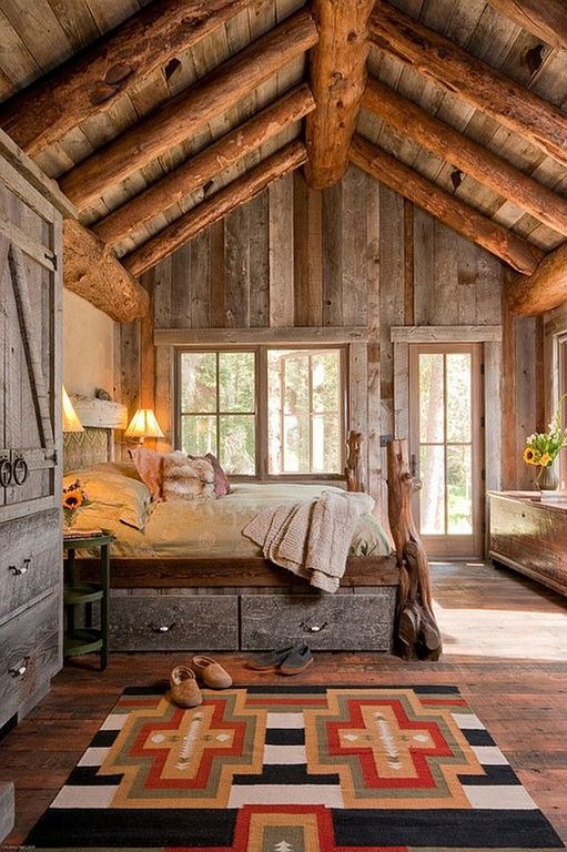 Rustic Master Bedroom with Navajo rug, Southwestern, Paint 1