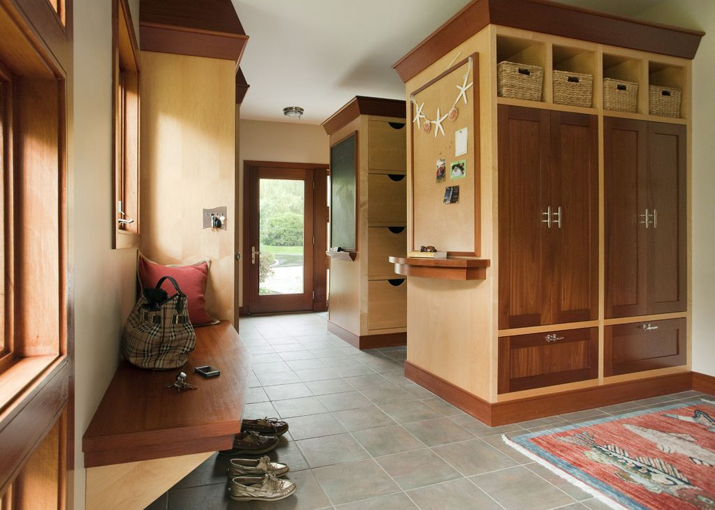 Contemporary Mud Room with Standard height, terracotta tile floors, Built-in bookshelf, can lights, French doors, Casement