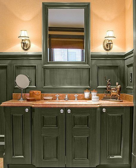 Country Master Bathroom with Quorum International Satin Nickel Armonia 1 Light Wall Sconce, Paint 2, Paint 1