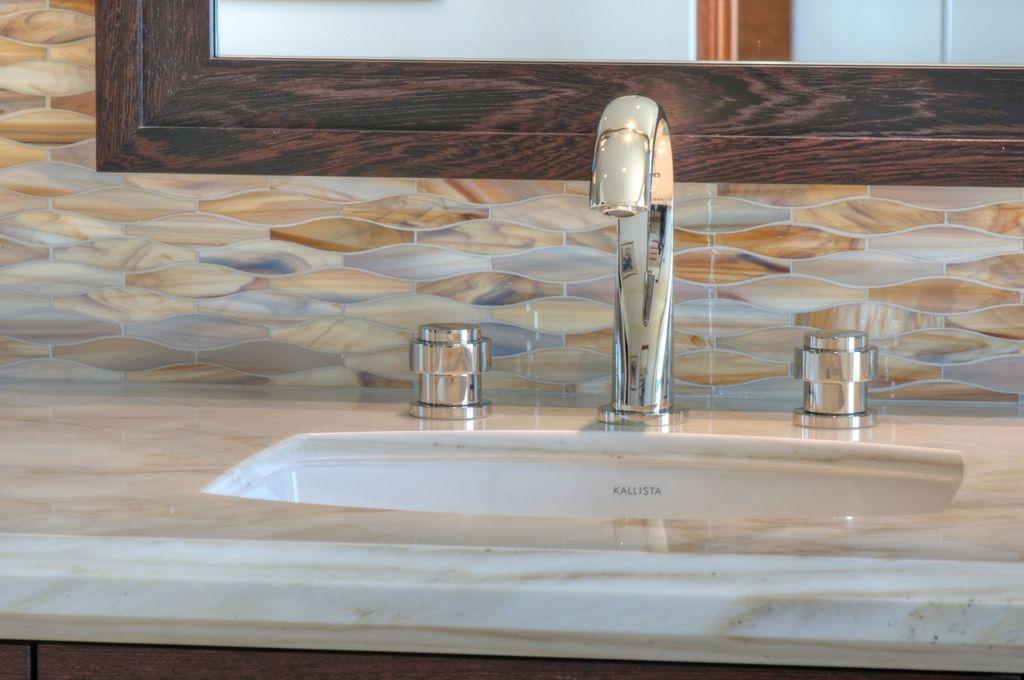 Eclectic Full Bathroom with MS International Calacatta Gold Marble, Kallista Vir Stil Undermount Basin