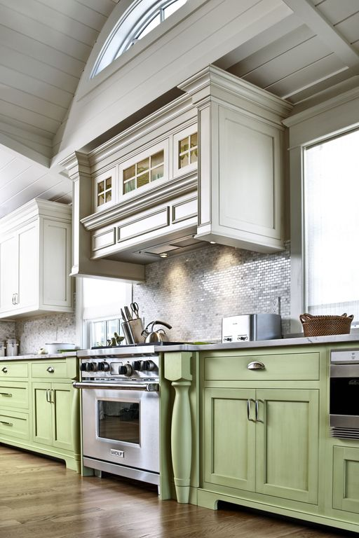 """Cottage Kitchen with Stainless Steel .75""""x2.5"""" Metal Tile Brick Pattern, Helsinki 462/slab custom cabinets, Paint, Paint 2"""
