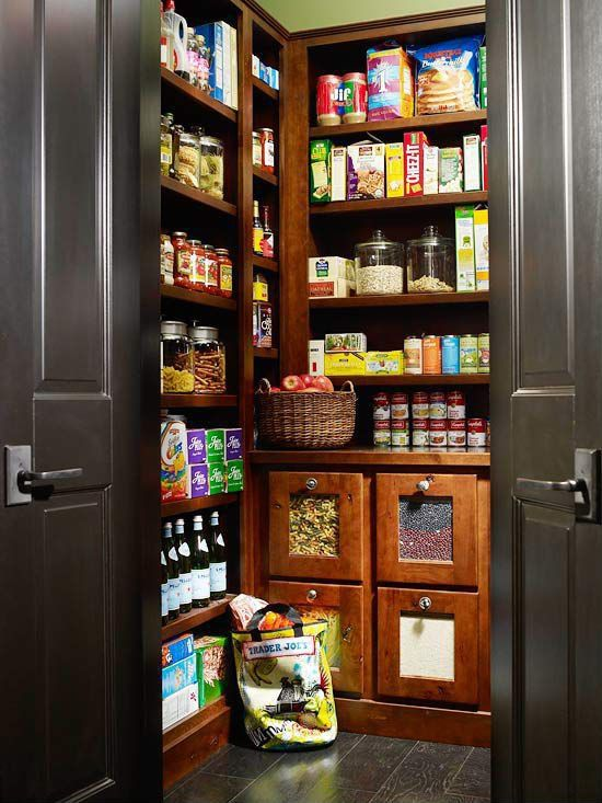 Traditional Pantry with Anchor Hocking Heritage Hill 1-Gallon Storage Jar, Stained oak flooring, Custom built-in shelving