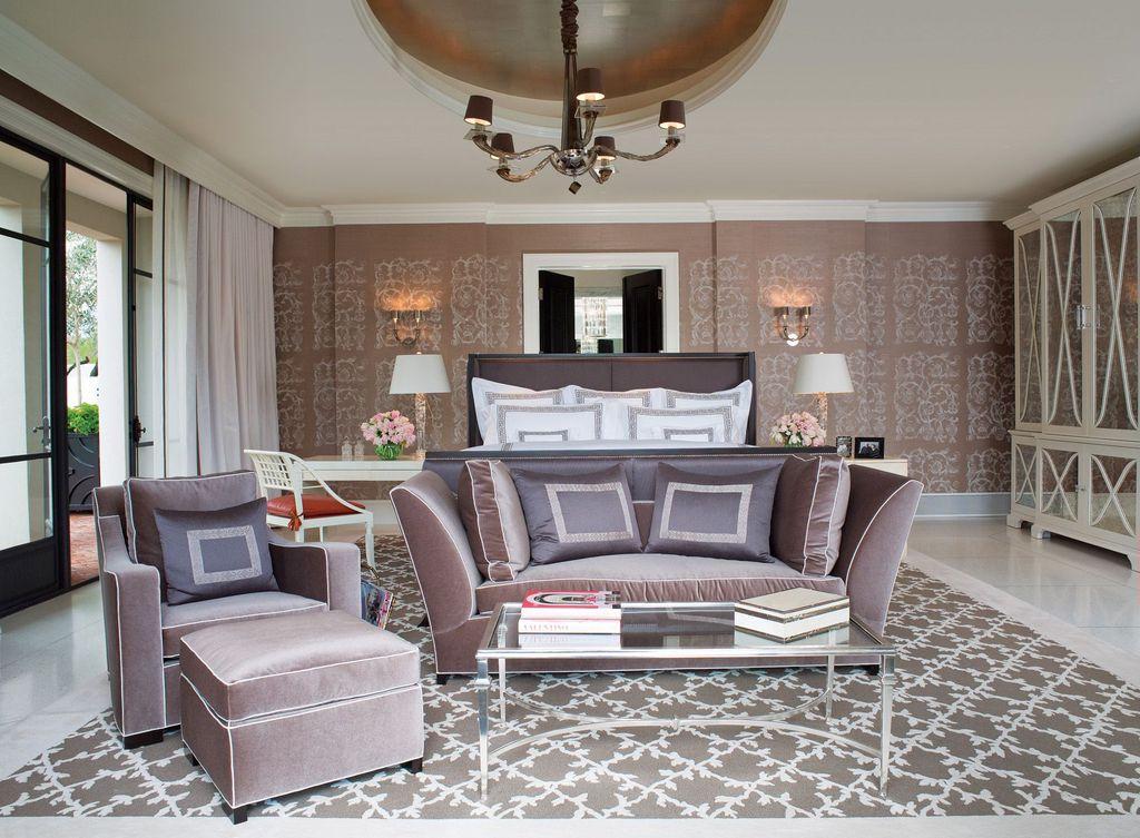 Art Deco Master Bedroom With Built In Bookshelf Concrete Tile Crown
