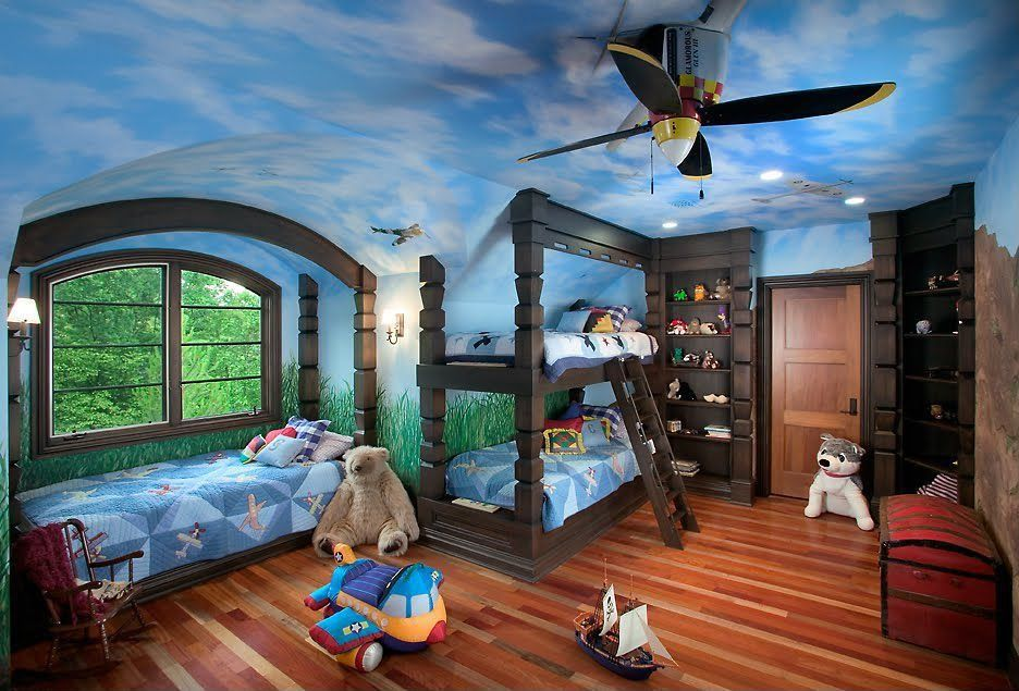 Eclectic Kids Bedroom with Ceiling fan, Rockabye Bi-Plane Airplane Rocker, Built in bed, My World Fly Away Quilt Set