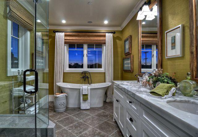 Traditional Master Bathroom with Paint 1, partial backsplash, Pental Nublado Polished Limestone, Master bathroom, Flush