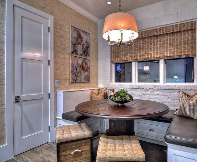Traditional Kitchen with Dot and bo, Wallpaper, Round pedestal rustic table, Painted brick wall